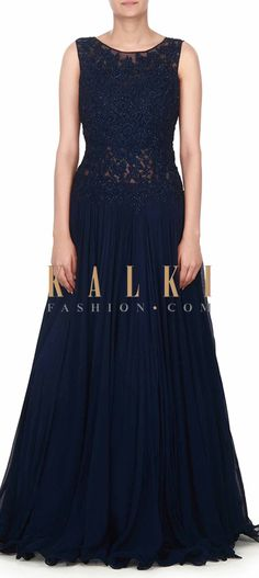 Buy this Navy blue gown adorn in resham and kundan bodice only on Kalki
