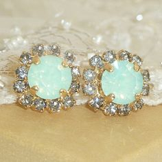 Mint Opal Crystal Stud Earrings Bridesmaids Gift by VintageRoz