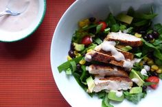 Chili Rubbed Chicken salad with dressing