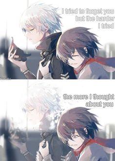 I tried to forget you but the harder I tried the more I thought about you - Kaneki & Touka Me Anime, Anime Couples Manga, Anime Love, Kawaii Anime, Sad Anime Quotes, Manga Quotes, True Quotes, Kaneki, Tokyo Ghoul Quotes
