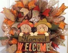 Fall Wreath/ Harvest Welcome - Fall mesh wreath