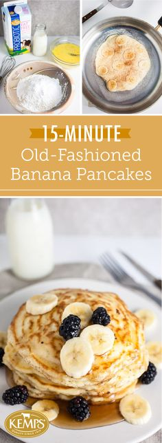 Wake up to delicious flavor and good-for-you ingredients when you make these 15-Minute Old-Fashioned Banana Pancakes using Kemps® Probiotic Milk. If you're looking for easy ways to introduce healthier alternatives to your family's daily routine, this morning recipe is the perfect place to start. Who knew aiding a healthy digestion and enjoying a tasty breakfast could go hand in hand?