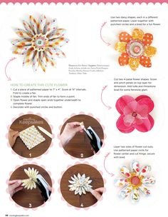Kim Watson shows us how to create beautiful flower accents using scrapbook supplies: Featured in the May/June 2013 issue of Creating Keepsakes magazine. Paper Flowers Craft, Flower Crafts, Fabric Flowers, Paper Crafts, Scrapbook Supplies, Scrapbooking Layouts, Scrapbook Cards, Scrapbooking Flowers, Creating Keepsakes