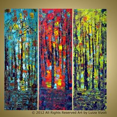 Original Large Landscape Forest Abstract Painting by LUIZAVIZOLI, $325.00