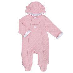 Buy John Lewis Baby Marl Wadded Pramsuit, Pink Online at johnlewis.com