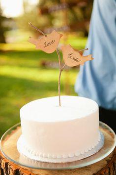 """love birds"" branch cake topper // photo by Brent Van Auken"