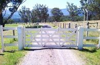 Vineyard Gate - (after painting) - Hand crafted from Australian hardwood and all gates come with our 10 year warranty Timber Gates, Farm Gate, Outdoor Furniture Sets, Outdoor Decor, Country Style, Vineyard, Hardwood, Painting, Wood Gates