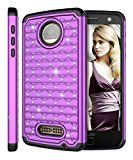 Moto Z Force Case, Moto Z Force Droid Case, Style4U [Shockproof] Studded Rhinestone Crystal Bling Hybrid Armor Case for Motorola Moto Z Force / Moto Z Force Droid with 1 Stylus [Purple / Black]