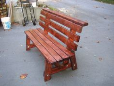 DIY 2x4 bench with back. Can't wait to make this with a picnic table.