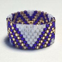 Viola a zig-zag rilievo banda Peyote Stitch anello tribale Boho Bohemian nativo americano ispirato occidentali e sud-ovest dei gioielli regalo a prezzi accessibili