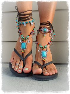 Turquoise Boho BAREFOOT Sandals FESTIVAL sandals Native Cowgirl Toe Thongs Statement foot wear sole less shoes crochet foot jewelry GPyoga