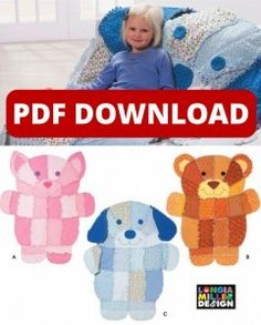 """Rag Puppy / Kitten / Bear Quilt Pattern - Digital Download Pattern cost is $6.00 and you need a printer that will print 11"""" x 17"""" or need to download it and take it to a printer that can do it for you."""