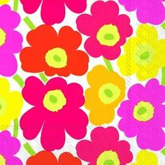 Mini Unikot Marimekko Multi Min Flowers Paper Lunch Napkins 20 In Pack & Garden Marimekko, Postcard Printing, Rico Design, Little My, Color Card, Paper Napkins, Hand Towels, Bunt, Paper Flowers