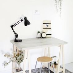 Update your office with this minimal concrete and wood desk!