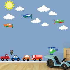 Boys Room - Airplanes and Cars Wall Decals