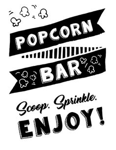 Setting up a popcorn bar? You're going to need popcorn signage. Click to see lots of cute, fun and fresh popcorn bar sign ideas to choose from. These popcorn signs can be used for baby showers, parties, movie nights, for weddings, etc. Pin it. #popcornbar #popcornbarideas