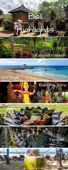 Paradiesische Strände, mystische Tempel, sattgrüne Dschungel und herrlich leckeres Essen – so stellen sich die meisten Urlauber die indonesische Insel Bali vor. Und ich kann euch versprechen: Ein Urlaub auf Bali toppt diese Vorstellungen noch! Damit auch ihr die schönsten Orte der Insel genießen könnt, stelle ich euch heute meine ganz persönlichen Highlights auf Bali vor. Ubud, Work Travel, Asia Travel, Koh Lanta Thailand, World, Highlights, Bucket, Internet, Sport