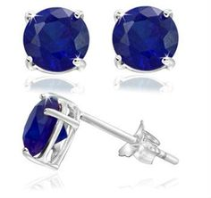 Blue Saphire stud Earrings Sterling Silver 2 Carat 4 Prong setting Butterfly $34.99