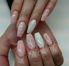 Light pink and White gel nails with glitter