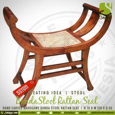 BANDA STOOL RATTAN SEAT- Indonesian handcarved mahogany Banda stool Rattan Seat. #HandmadeFurniture #Stool #Rattan #Mahogany #Handcarved #Seating #Idea #sokokayu