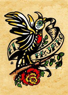 Day of the Dead Tattoo Art EL PAJARO Loteria Print 5 x 7
