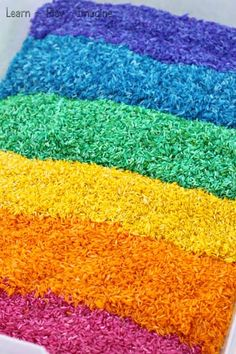 How to make gorgeous rainbow rice in vibrant colors - super simple recipe for play!  no need for alcohol or vinegar.