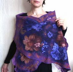 nuno-felt, wool, scarf, wrap, shawl, purple, merino, silk, flower