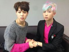 BTS | JIMIN and RAP MONSTER they look so guilty.. like someone just interrupted a very intimate moment