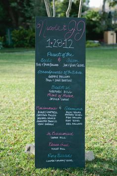 I like the large chalkboard style program! Style Me Pretty | Gallery