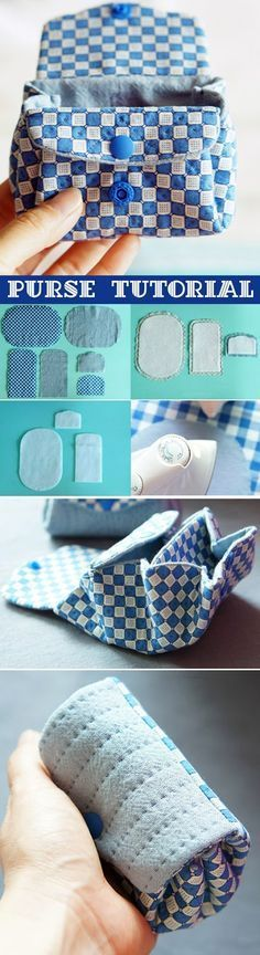How to sew a purse from a fabric. Pouch DIY step-by-step tutorial. Как сшить кошелек из ткани. www.handmadiya.co...