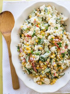 This Cauliflower Corn Cucumber Salad recipe is filled with crab, corn, cauliflower, cucumbers, peppers with a mayo dressing. Corn And Cucumber Salad Recipe, Corn Salad Recipes, Corn Salads, Cauliflower Salad, Cauliflower Recipes, Vegetarian Recipes, Cooking Recipes, Healthy Recipes, Fast Recipes