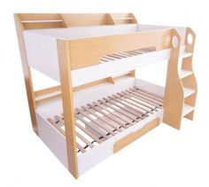Flair Furnishings Flick Bunk Bed Maple - The Flick Bunk Bed is a stylish and modern sleek white bunk bed with ample storage. The Flick Bunk includes practical shelving on both the top and bottom bunk to keep books, toys and a lamp for easy access during the night.