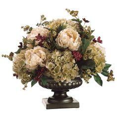 Silk Peony, Hydrangea, and Pompom Rose Floral Arrangement. For mom Hortensien Arrangements, Artificial Floral Arrangements, Dried Flower Arrangements, Artificial Flowers, Silk Flower Centerpieces, Peony Arrangement, Wedding Centerpieces, Peonies And Hydrangeas, Silk Peonies