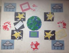 Outer space themed wall created by young toddlers.