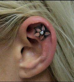 Flower ear tattoos Tatts   tattoos picture ear tattoos by Diva Deb