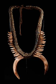 Papua New Guinea | Necklace ~20/30 years old ~ from the Sepik River Region.  Dog teeth, pig tusks, shells and vegetable fibers | 3300 CZK