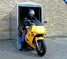 Motorcycle MK Bike Store - Motorbike Storage - M&K Shelving and Storage - Suppliers of quality shelving and storage solutions to the south west of the UK Motorcycle Man Cave Ideas, Motorcycle Camping, Motorcycle Shop, Motorcycle Garage, Motorcycle Design, Motorcycle Cover, Motorbike Shed, Motorcycle Storage Shed, Scooter Garage