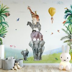 Youll never walk alone (oker yellow) Fleur Kuipers Jungle Bedroom, Jungle Nursery, Baby Room Design, Baby Room Decor, Room Wall Painting, Wall Art, Baby Room Paintings, Blue Ceilings, You'll Never Walk Alone
