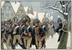 """Napoleonische Kriege. Niederlage Preußens 1807.  """"Die Reste des Bataillons Garde bei ihrem Durchzuge durch Memel."""""""
