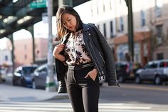 Daily outfit - All black with floral bomber   Photographed by Ashka Shen   Xssat Street Fashion