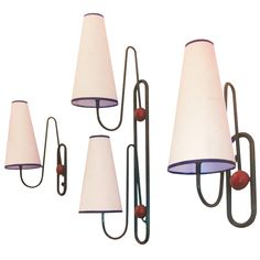 Jean Royere Rare Set of 3 Ball Sconces in Red and Black Metal | From a unique collection of antique and modern wall lights and sconces at http://www.1stdibs.com/furniture/lighting/sconces-wall-lights/