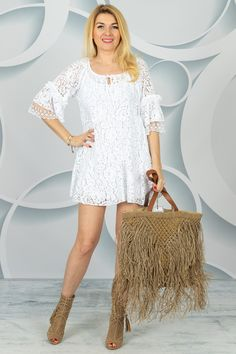 Benetton, Spring Collection, White Dress, Lace, Dresses, Women, Fashion, Tunic, Vestidos