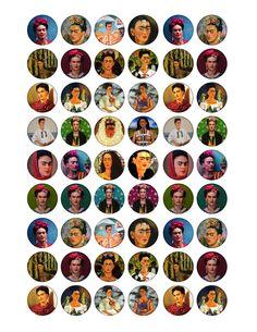 Free digital collage sheet Frida Kahlo