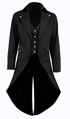 Chic Darkrock Men's Black Cotton Twill Steampunk Tailcoat Jacket Goth Victorian Coat/Trench Mens Fashion Clothing. [$61.90 - 69.90] nanaclothing from top store