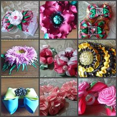 Bows for hair, bows for girls,bows on an elastic band for hair, bows on a hairpin, bows on a metal base, bows on the clip, bows with flowers by TatianaBWShop on Etsy Girls Bows, Hairpin, Hair Ties, Base, Metal, Flowers, Color, Hair Bows, Colour