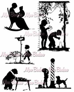 Digital Collage Sheet of Vintage StoryBook Silhouette by monbonbon, $2.99