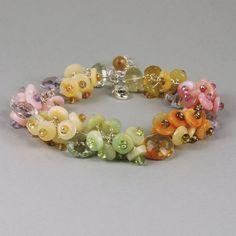 Opal Mixed Gemstone Cluster Bracelet, Multi Color Opal Cuff - $200.00