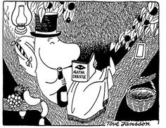 Everything you need: A top-hat, Agatha Christie, and a bottle of wine. From Moomin by Tove Jansson.