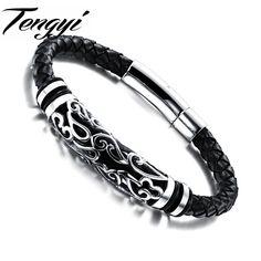 Casual Magnetic Bracelet Stainless Steel Men Bracelet Black Knitted Leather Belt  Bracelets Bangles 901