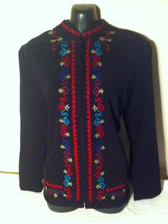 ELEMENTS Women's Floral Embroidered Designer Blazer Jacket Size Medium #Elmentz #Blazer